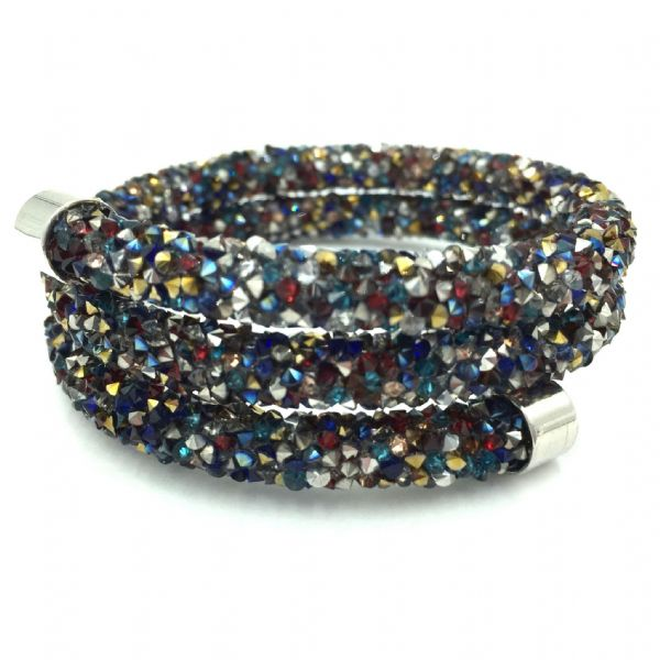 Double sparkle dust cuff bracelet - multi